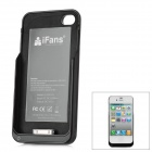 "iFans External ""1800mAh"" Battery PU + ABS Back Case for iPhone 4 / 4S - Black"