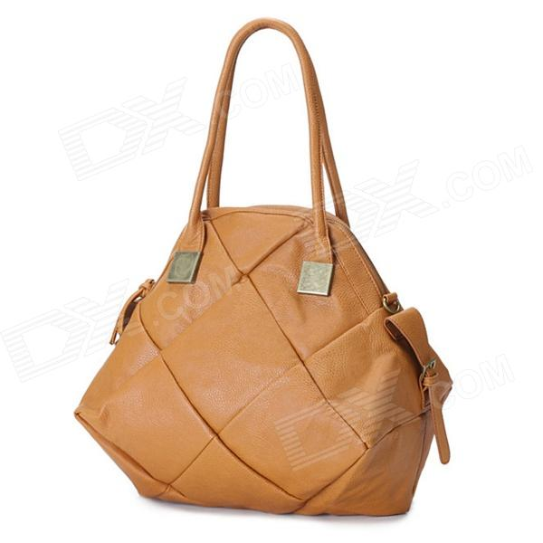 MeiMei 1111111301 Rhombic Pattern PU Shoulder Bag / Handbag - Brown