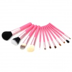 MISS YIFI Portable 12-in-1 Cosmetic Makeup Brushes Set w/ Cylinder Case - Pink + Deep Pink