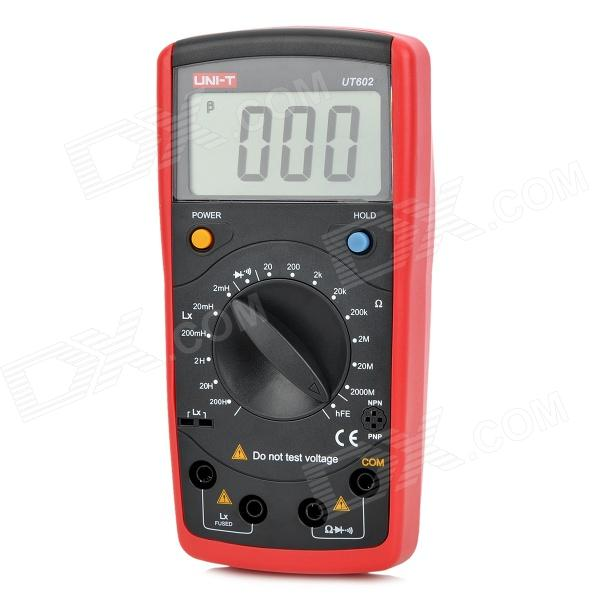 UNI-T UT602 2.6 LCD Modern Inductance Resistance Meters Tester - Red + Dark Grey (1 x 9V) - DXTesters &amp; Detectors<br>Brand: UNI-T - Model: UT602 - Quantity: 1 piece - Color: Red + Dark grey - Material: ABS - Features: Inductance test - LCD Display: 2.6 - Application: Inductance measurement - Max. Display: 1999 - Power Supply: 9V battery - Resistance Test: 20ohm / 200ohm / 2Kohm / 20Kohm / 200Kohm / 2Mohm / 20Mohm / 2000Mohm +/- (0.8%+1) - Inductance Test: 2mH / 20mH / 200mH / 2H / 20H / 200H +/- (2%+8) - Special Functions: Diode test / Continuity buzzer test / Audion test / Low battery display / Data-hole - Packing list: - 1 x Inductance capacitance meters - 1 x Protective case - 1 x 9V Battery - 1 x English user manual - 2 x Test clips (11cm-cable)<br>