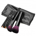EMILY Professional 7-in-1 Cosmetic Makeup Brushes Set w/ PU Bag - Black