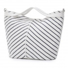 BiBi Fashion Symmetric Stripes Pattern PU Leather Lady's Handbag / Shoulder Bag - White + Blue
