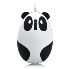 Cute Cartoon 3D Panda USB 2.0 Wired 800dpi Optical Mouse - White + Black (145cm-Cable)