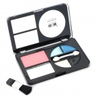 Portable Cosmetic Makeup Blush Rouge + 4-Color Eye Shadow Kit w/ Brush - Multicolored
