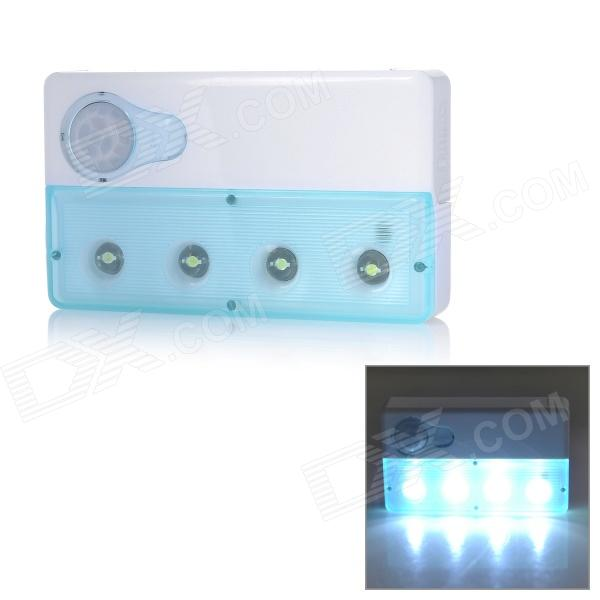 C15E Ultra Thin Rechargeable 2W human Body Infrared Induction Light - White + Blue (2 x AAA)