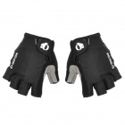 Outdoor Bike Bicycle Cycling Half-Finger Fabric + Artificial Leather Gloves - Black + Grey (Size XL)