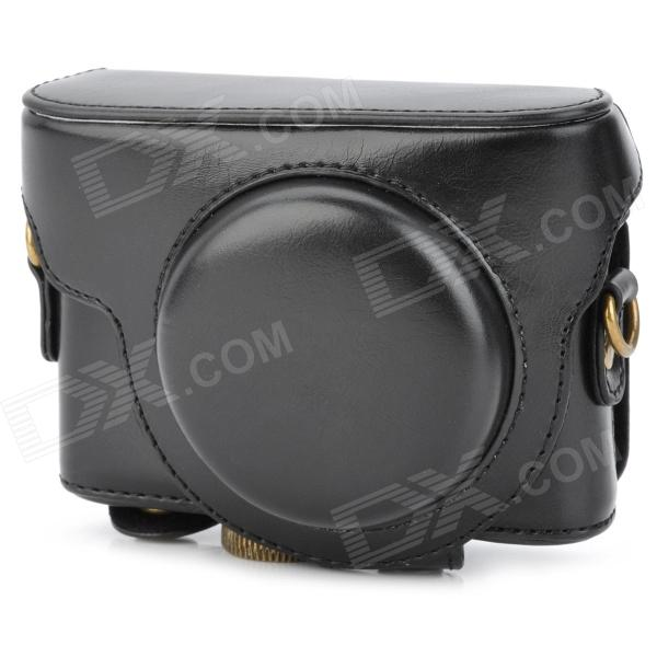 Protective PU Leather Camera Case for Sony RX-100 - Black micro camera compact telephoto camera bag black olive