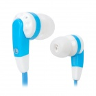 EV-2085SL Stylish Flat Cable In-Ear Earphones - Blue + White (3.5mm Plug / 130cm)