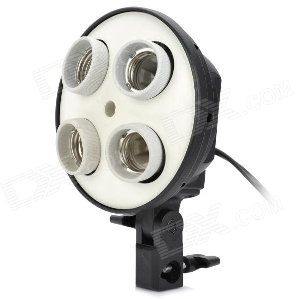 135W E27 Ceramic 4-Lamp Head Video Lamp - White + Black (EU Plug / 100~240V)