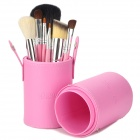 EMILY Makeup Brushes Set w / elegante estojo de transporte - Pink (7pcs)