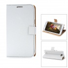 Protective PU Leather Cover Plastic Back Case Stand for Samsung Galaxy Note 2 N7100 - White