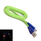 USB Male to Micro USB Male Charging Shining Data Flat Cable for Nokia / HTC + More - Green (105cm)