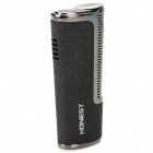 Stainless Steel Blue Flame Windproof Butane Jet Lighter - Black