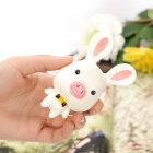 Cartoon Suction Cup Pig Nose Rabbit Toy - White + Pink