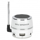 HR-199 Tragbarer Mini 2-Kanal Media Player Speaker w / FM / TF / Antenna - White