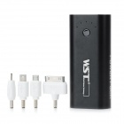 WST-A8 5V 5600mAh Portable Power Battery w/ 4 Adapters for iPhone 4 / 4S / Nokia / Samsung - Black