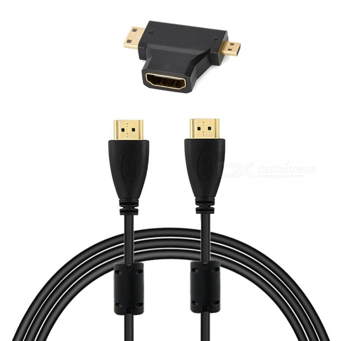 HDMI 1.4 Male to Male Cable + HDMI Female to Micro / Mini HDMI Adapter - Black adapter sma plug male to 2 sma jack female t type rf connector triple 1m2f brass gold plating vc657 p0 5
