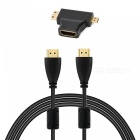 HDMI 1.4 Male to Male Cable + HDMI Female to Micro / Mini HDMI Adapter - Black