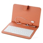 "PUA-80 Protective PU Leather 80-Key Keyboard Carrying Case w/ Stand & Stylus for 7"" Tablets - Brown"