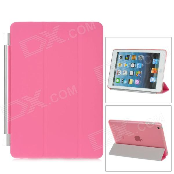 Protective Plastic Smart Cover Stand w/ Back Case for iPad Mini - Pink