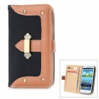 Protective PU Leather Case w/ Metal Button for Samsung Galaxy S3 i9300 - Black + Brown