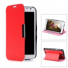 Protective PU Leather Cover Plastic Back Case Stand for Samsung Galaxy Note 2 N7100 - Red + Black