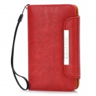 KALAIDENG Wallet Style Protective PU Leather Case w/ Card Slots / Lanyard for Nokia 820 - Red