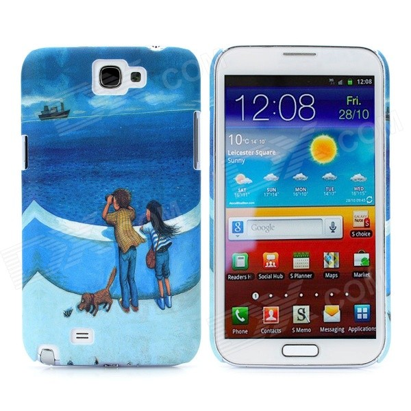 Noctilucent Concavoconvex Protective Plastic Hard Back Case for Samsung Galaxy Note 2 N7100 - Blue rhombus twill style protective plastic back case for samsung galaxy note 2 n7100 blue silver