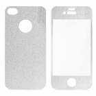 Protective Decoration Carbon Fiber Front + Back Sticker for iPhone 4 / 4S - Silver Grey