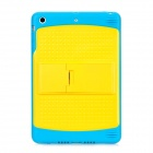Protective Silicone Back Case w/ Stand for iPad Mini - Blue + Yellow