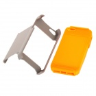 2-in-1 Protective Plastic + Silicone Back Case w/ Stand for Iphone 5 - Orange + Grey