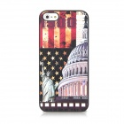 Protective Plastic White House & Statue of Liberty Pattern Back Case for Iphone 5 - Black + Crimson