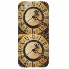 Protective Retro Dual-Clock Pattern Back Case w/ Screen Guard for Iphone 5 - Coffee