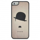 Fashionable Hat Pattern Plastic Back Case for Iphone 5 - Grey + Black