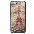 Stylish Retro Burning Eiffel Tower Pattern Plastic Back Case for Iphone 5 - Coffee