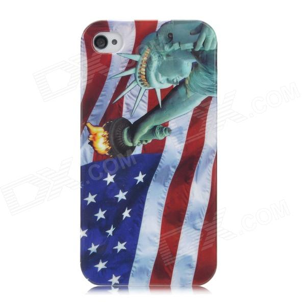 Protective Flag of United States and Liberty Pattern Back Case for Iphone 4 / 4S cartoon pattern matte protective abs back case for iphone 4 4s deep pink