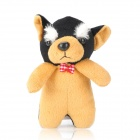 360-Degree Rotating Plush White Brow Dog Doll Protective Back Case for Iphone 4 / 4S - Black + Brown