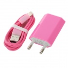 USB Data / Charging Lighting Cable + EU Plug Power Adapter Set for iPhone 5 - Pink