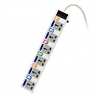 HELENFA 706 6-Outlet Power Socket Bar w/ Independent Switches - White (3-Flat-Pin Plug / 2.5m)