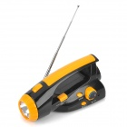 Outdoors Hand-Cranking Emergency Rechargeable 3-LED Flashlight w/ FM Radio - Orange + Black