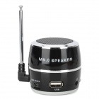 HR-199 Drum Style Mini Rechargeable MP3 Player Speaker w/ FM / USB / TF - Black