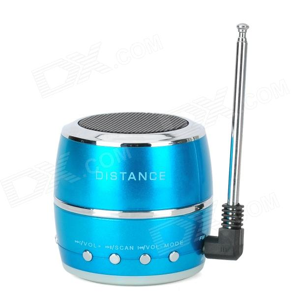 HR-199 Drum Style Mini Rechargeable MP3 Player Speaker w/ FM / USB / TF - Blue