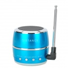 HR-199 Drum Style Mini Rechargeable MP3-Player-Lautsprecher w / FM / USB / TF - Blue