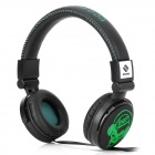 SNIKE QHP-999 Cool Skull Pattern Headphone Headset w/ Microphone - Black (3.5mm Plug / 120cm-Cable)