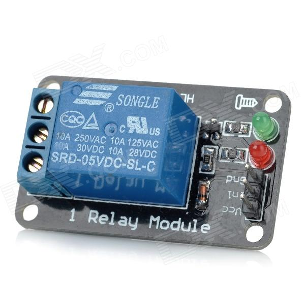 1 Channel 5V Relay Module - Black + Blue 1 channel relay module interface board shield for arduino 5v low level trigger one pic avr dsp arm mcu dc ac 220v