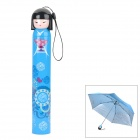 "HW813A Lovely Japanese Girl Pattern 19"" 3-Section UV Protection Umbrella - Blue"
