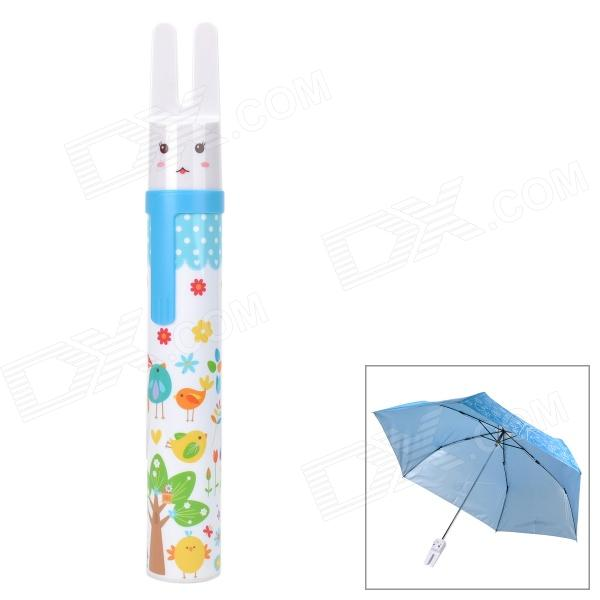 "HW821E Cute Rabbit Pattern 19"" 3-Section Folding UV Protection Umbrella - Blue"