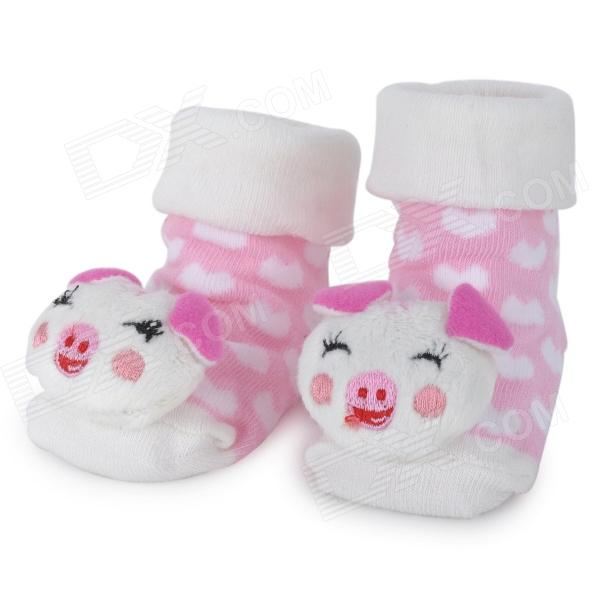 Cute Cartoon Pig Style Baby Non-Slip Cotton Socks - Pink + White (Pair)