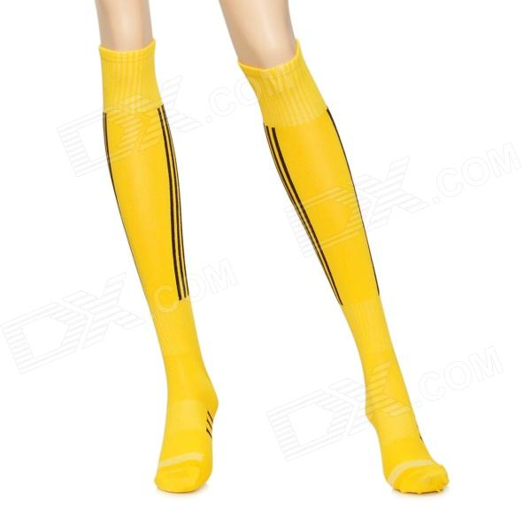 Stylish Football Cotton Socks - Yellow (Pair)
