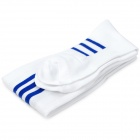Stylish Football Cotton Socks - White + Blue (Pair)